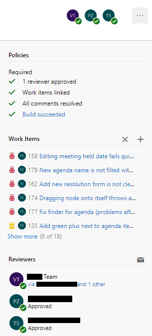 Pull Request policies in VSTS.